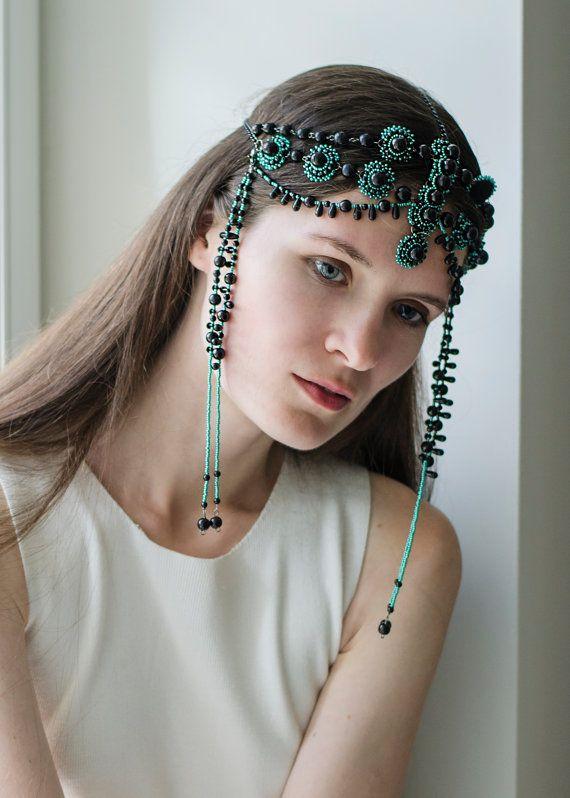 Black Head jewelry, beaded head piece, black green