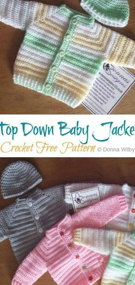 Top Down Baby Jacket Crochet Free Pattern - Crochet   Knitting #knitting #patterns #free #knitting #for #beginners #knitting #projects #knitting #inspiration #knit #crochet