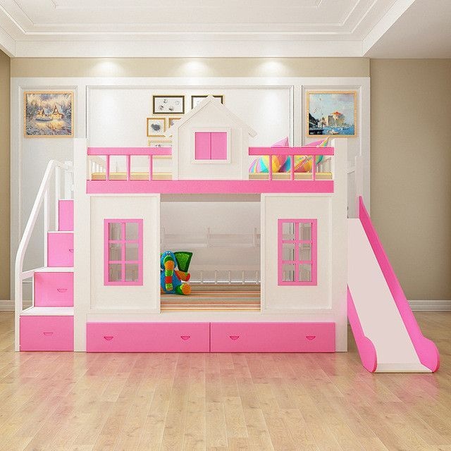 Wood Bunk Bed with Stairs and Slide option   Ava and ...