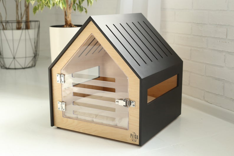 Modern Dog And Cat House With Acrylic Door Petso Dog Bed Cat Etsy In 2021 Modern Dog Houses Indoor Dog House Dog Crate Furniture