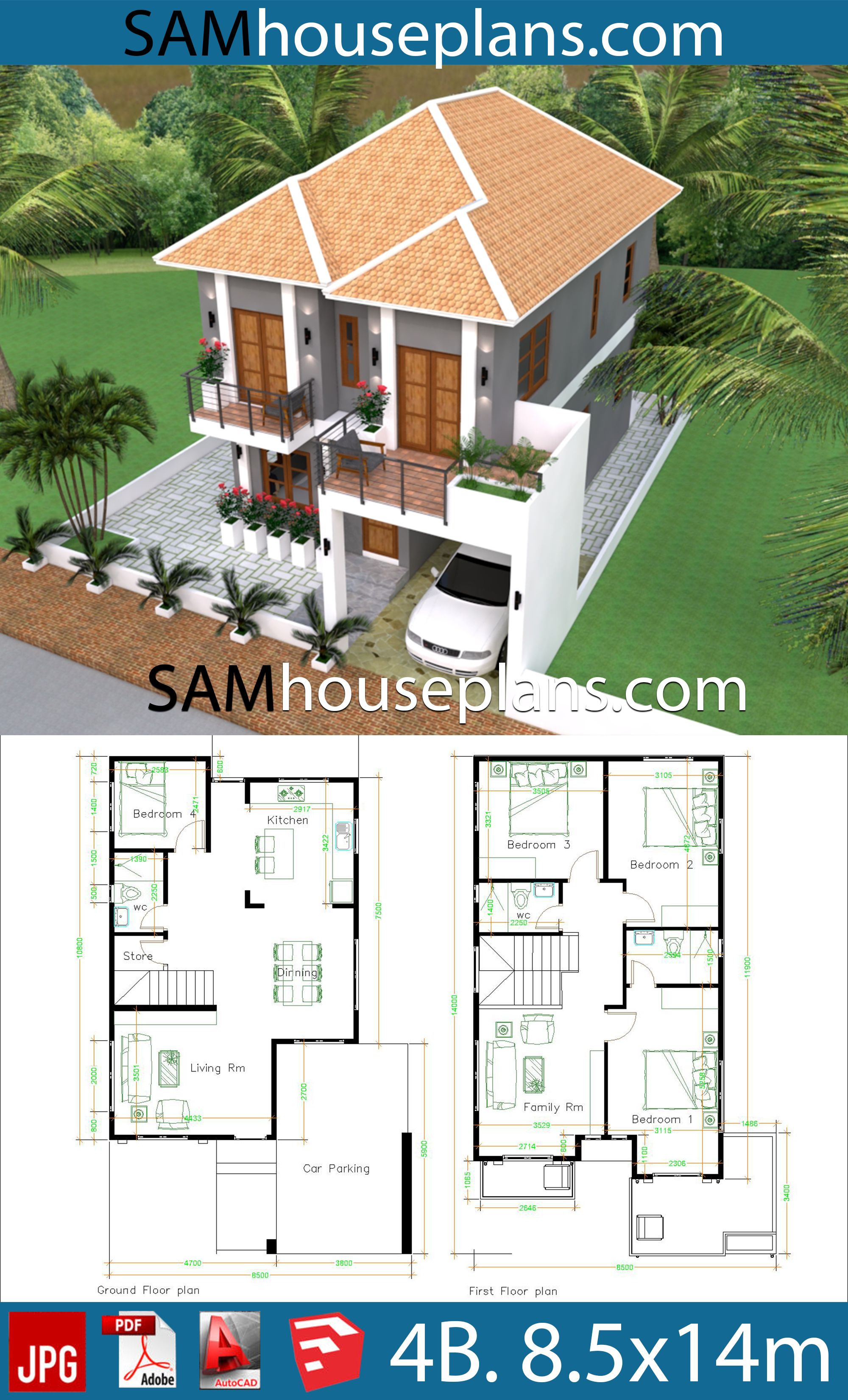 House Plans 8 5x14 With 4 Bedrooms House Plans Free Downloads Architectural Design House Plans Dream House Plans House Front Design