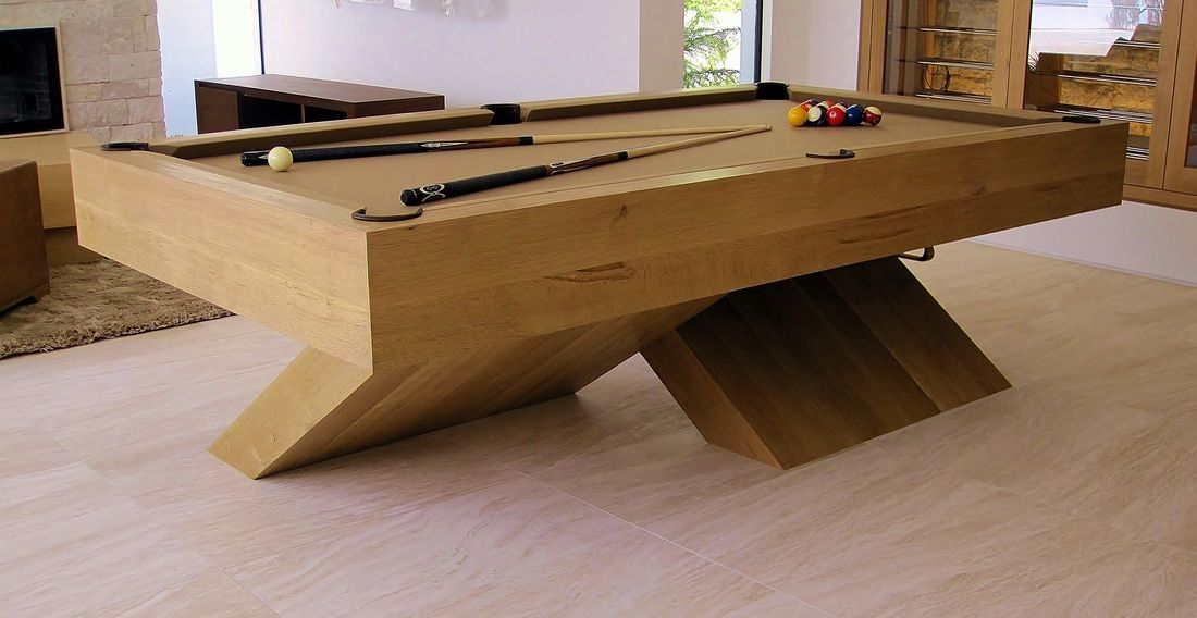 Modern Pool Tables Contemporary QuarterSawn White Oak XBase Pool - Modern slate pool table