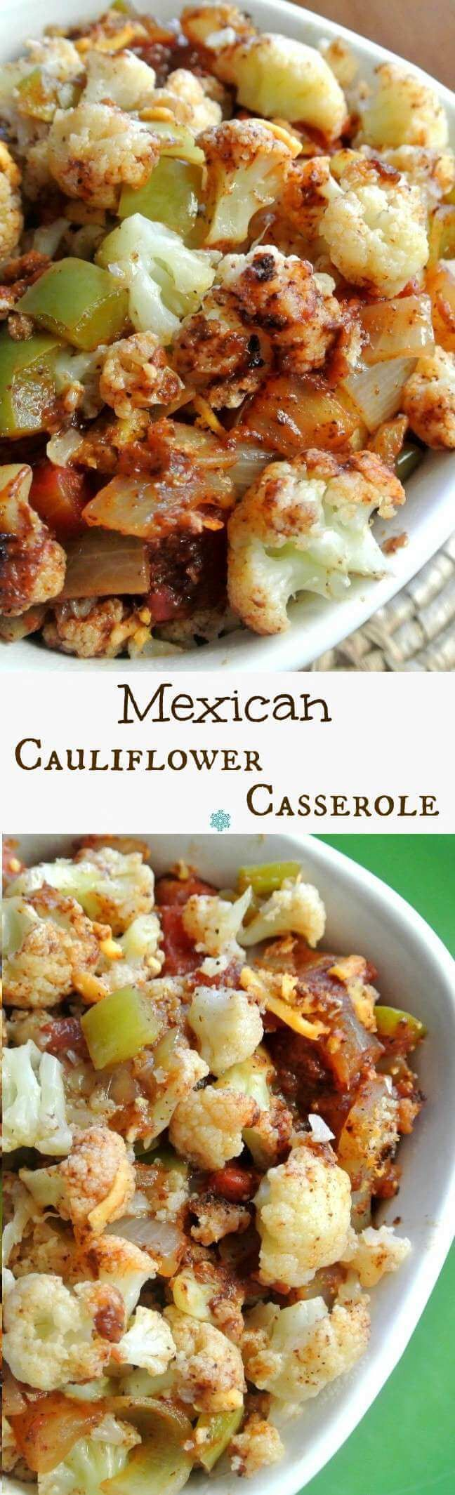 Mexican Cauliflower Casserole is a fantastic side dish. There are many spices and accent vegetables that blend just right. Easy to make and healthy too. ~ http://veganinthefreezer.com