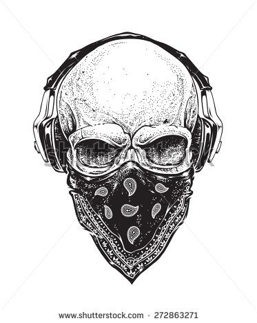 dotwork styled skull with headphones and bandana vector art skullz bones skeleton ish. Black Bedroom Furniture Sets. Home Design Ideas