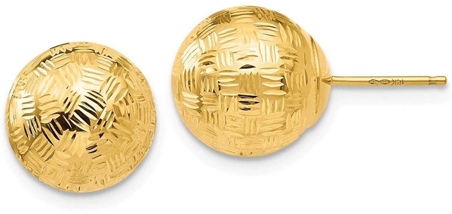 Mia Diamonds 14k White Gold Polished Post Hoop Earring
