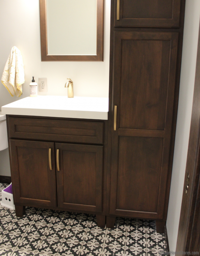 Bertch Bath Vanity And Linen Cabinet In A Powder Room