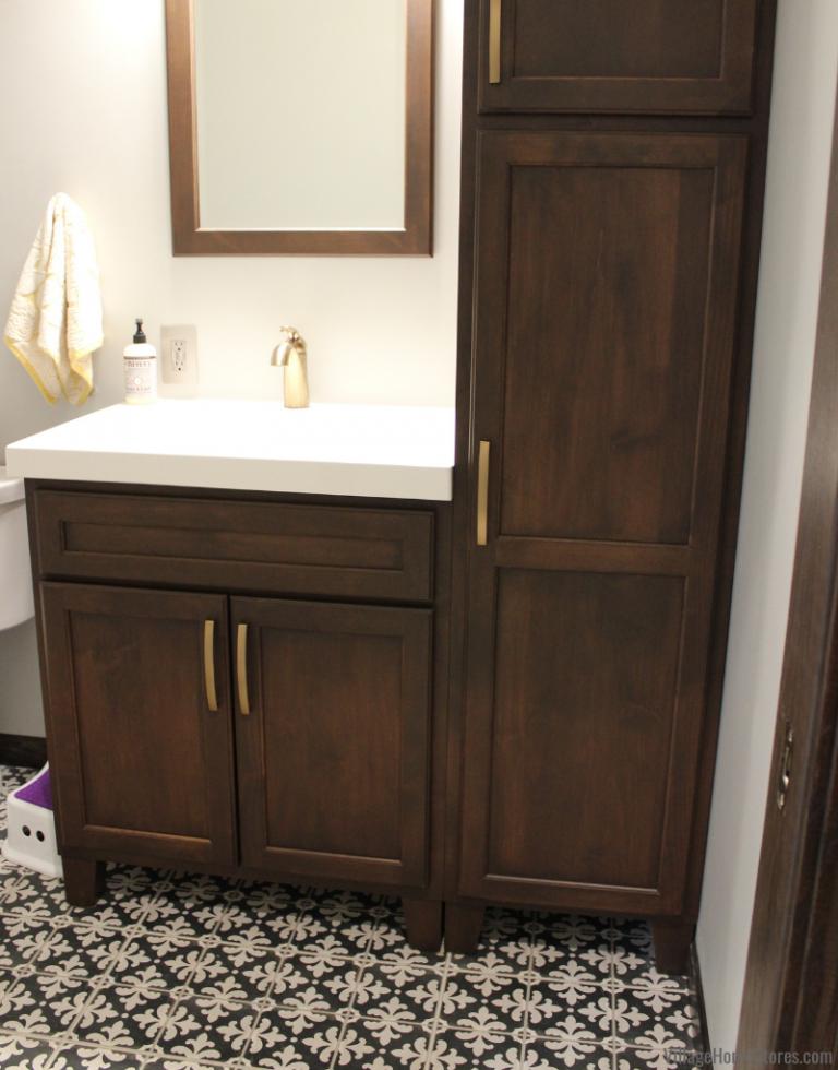 Bertch Bath Vanity And Farmhouse Tile Bathroom Complete Bathroom Remodel Small Bathroom Vanities Kitchen Cabinets In Bathroom