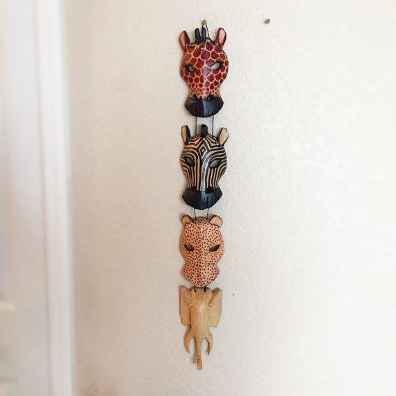 4 Hanging Tribal Jungle Masks Elephant Zebra door WonderCabinetArts