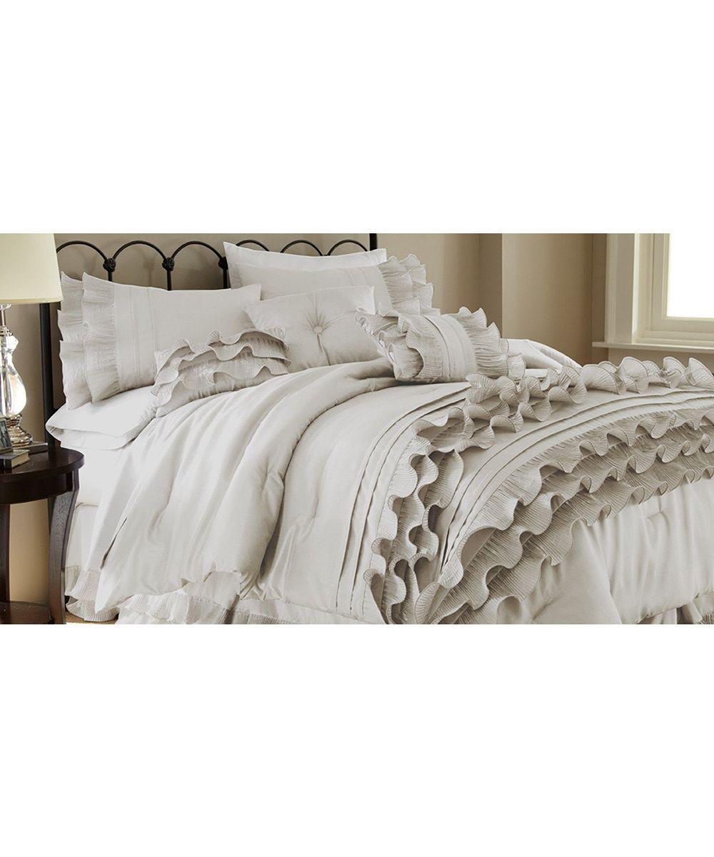 Pearl White Anastacia Ruffle Comforter Set Comforter