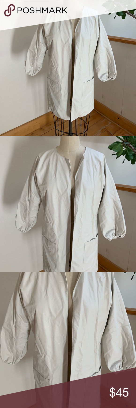 Zara White Faux Leather Jacket White hip length Viscose
