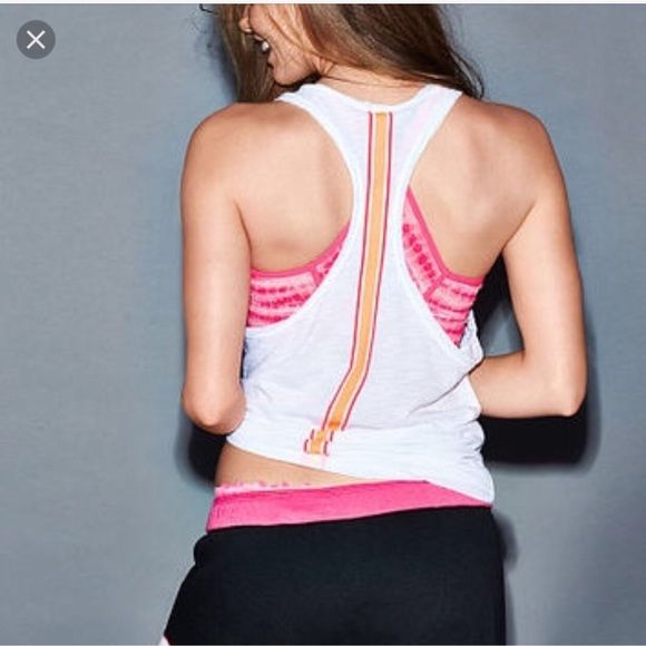 Extreme racerback white tank by PINK Brand new with tag. Racerback white tank by PINK VS 60% cotton, 40% polyester. Bundle for more saving Victoria's Secret Tops Tank Tops