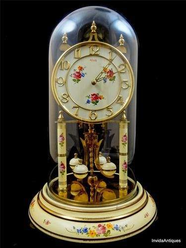 Vintage 1951 German Clock Enamel Floral Kundo Germany