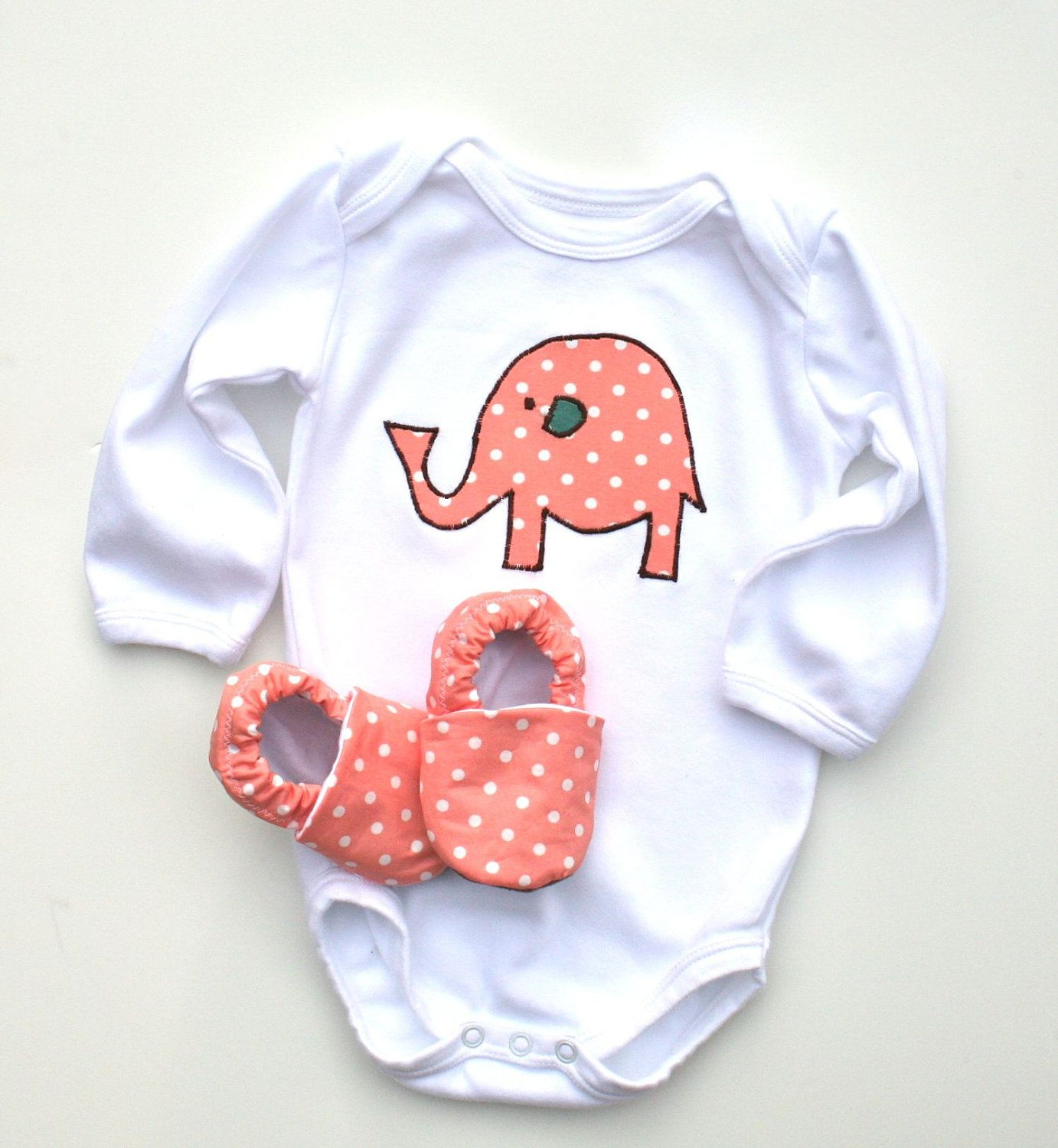 717bedabbf Elephant Organic Long Sleeve Onesie Baby Girl with Organic Shoes 0 3 6 12  18 months- Baby Clothes Eco Friendly Clothing Pink Gift for baby.
