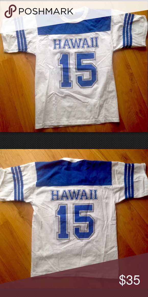 Vintage Hawaii Jersey Tee Vintage Hawaii Tee Super Cute Fits Women S Small Blue Jersey Style With Number On Front And Back Hawaii Tees Jersey Tee Vintage Tees