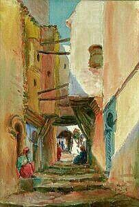 Algerie Peintre Francais Edouard Herzig 1890 1926 Aquarelle