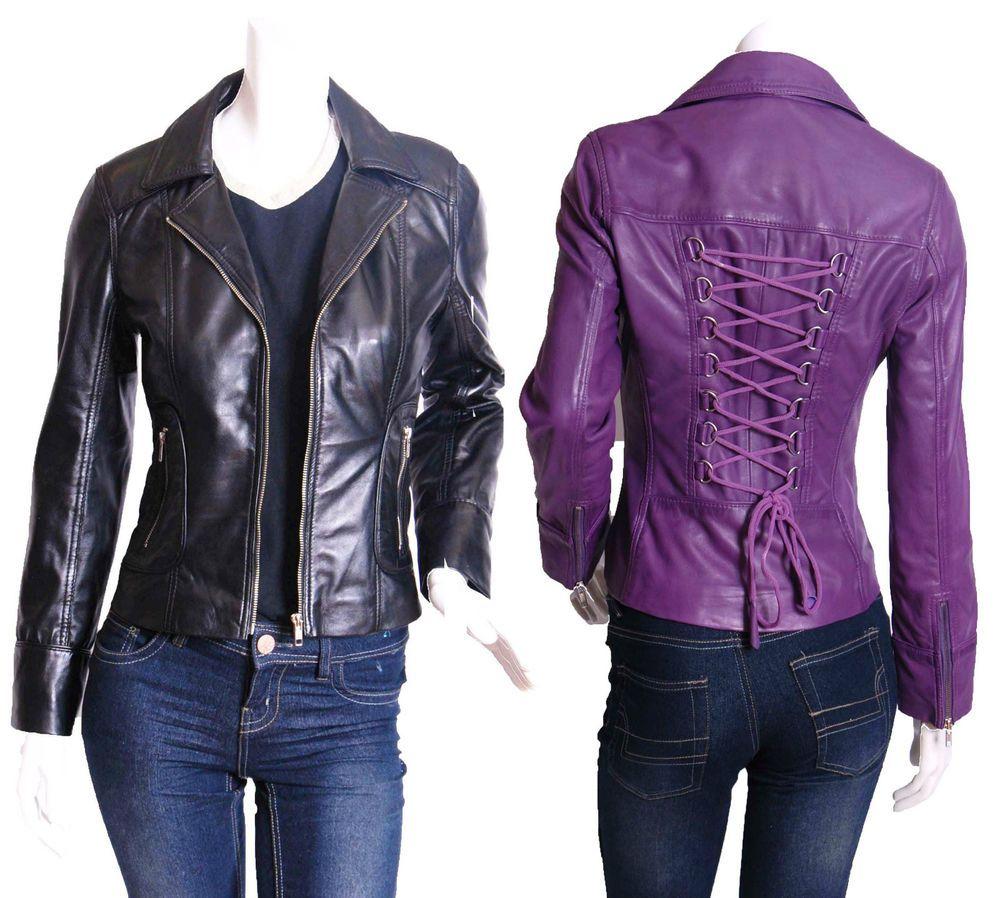 TARA Ladies Soft Leather Jacket 100/% Real Leather Biker/'s Designer Jacket 4110