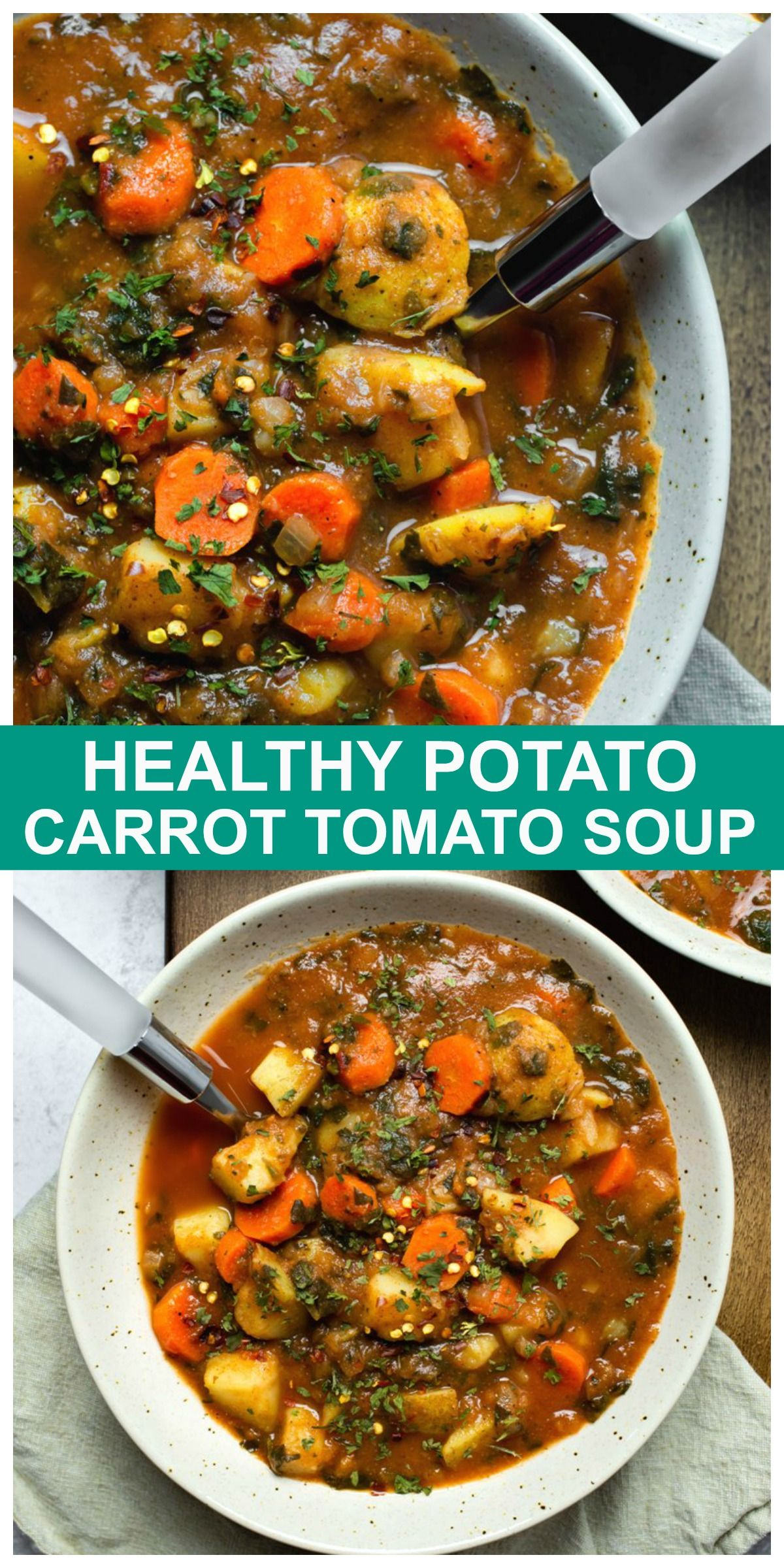 Healthy Potato Carrot Tomato Soup Recipe In 2020 Vegan Soup Recipes Healthy Soup Recipes Vegan Recipes Healthy