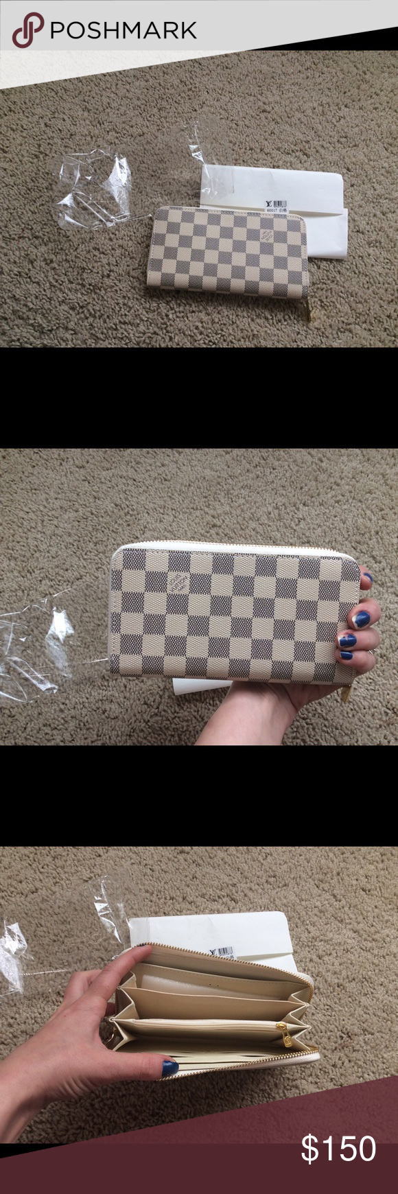 NWT Louis zippy wallet White checkered & light blue print Bags Wallets