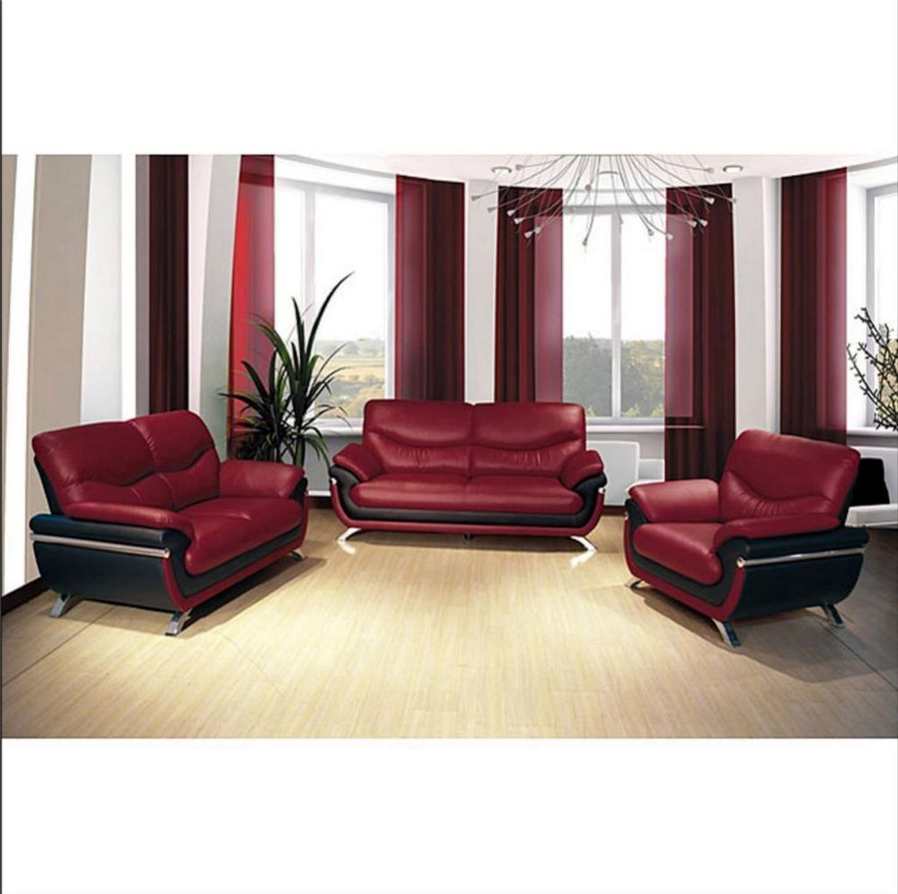 Best Sofa Loveseat Chair Set Modern Furniture Red Black Faux 400 x 300