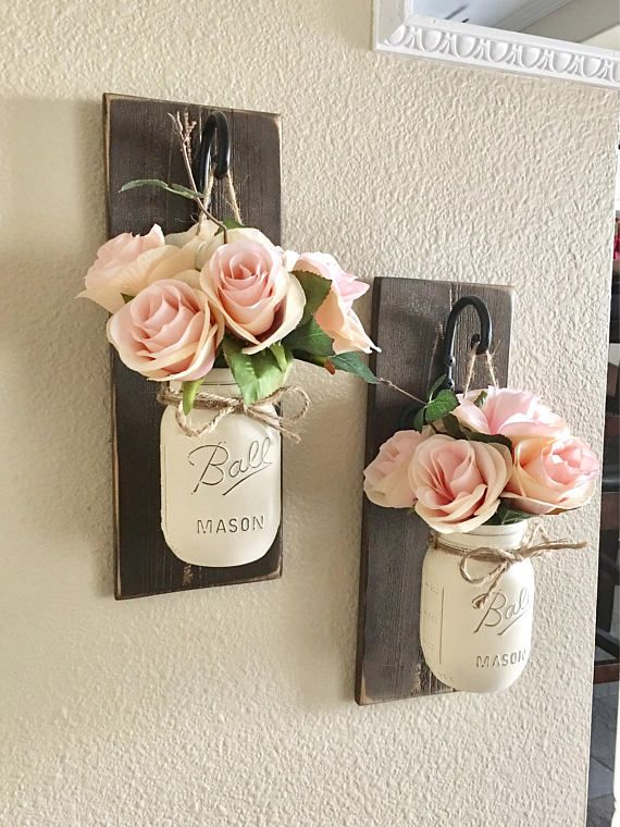 Mason Jar Wall Decor Set Of 2 Mason Jar Sconces Mason Jar Wall Decor Country  Diy
