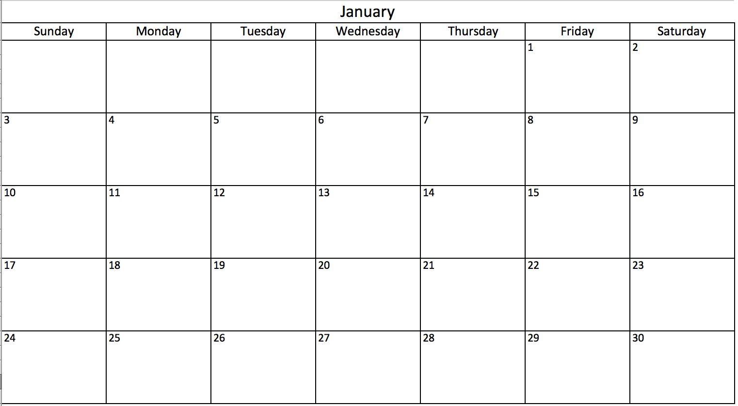 Monthly Calendar Excel Printable Month Calendar Inside Blank One