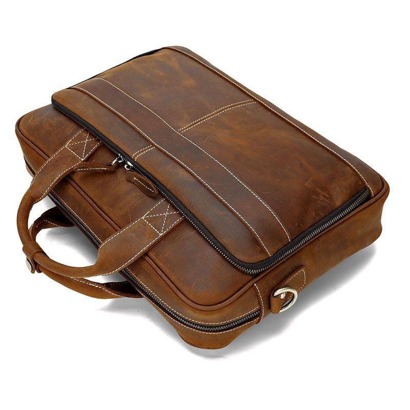 Men/'s Vintage Leather Briefcase Handbag Shoulder Messenger Bag Laptop Bags14/'/'