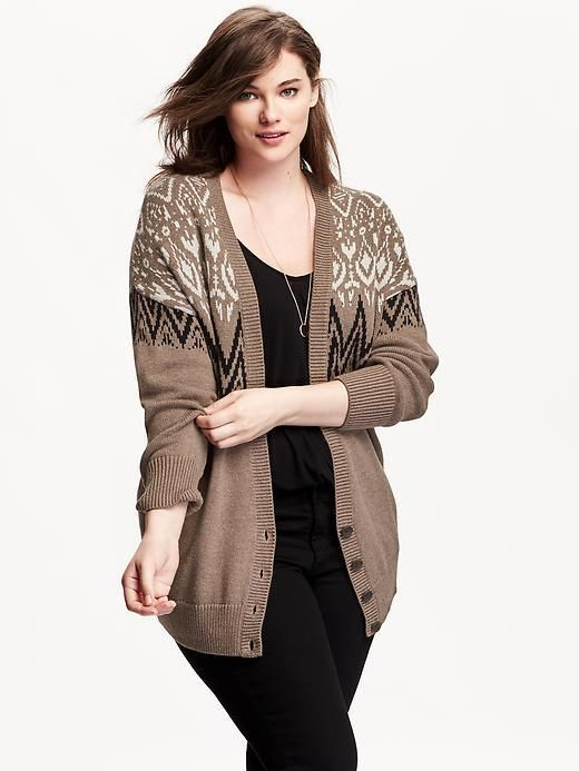 Plus Size Patterned Cocoon Cardigan