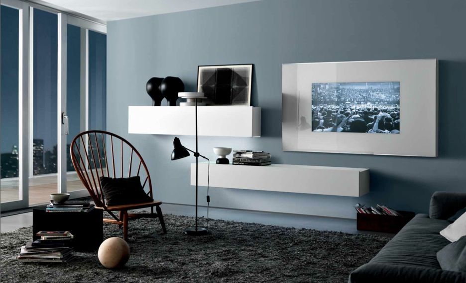 Cool Blue Grey White Contemporary Living Spaces Built Ins Furniture Living  Room Decorating Ideas Picture Cuvk Part 61