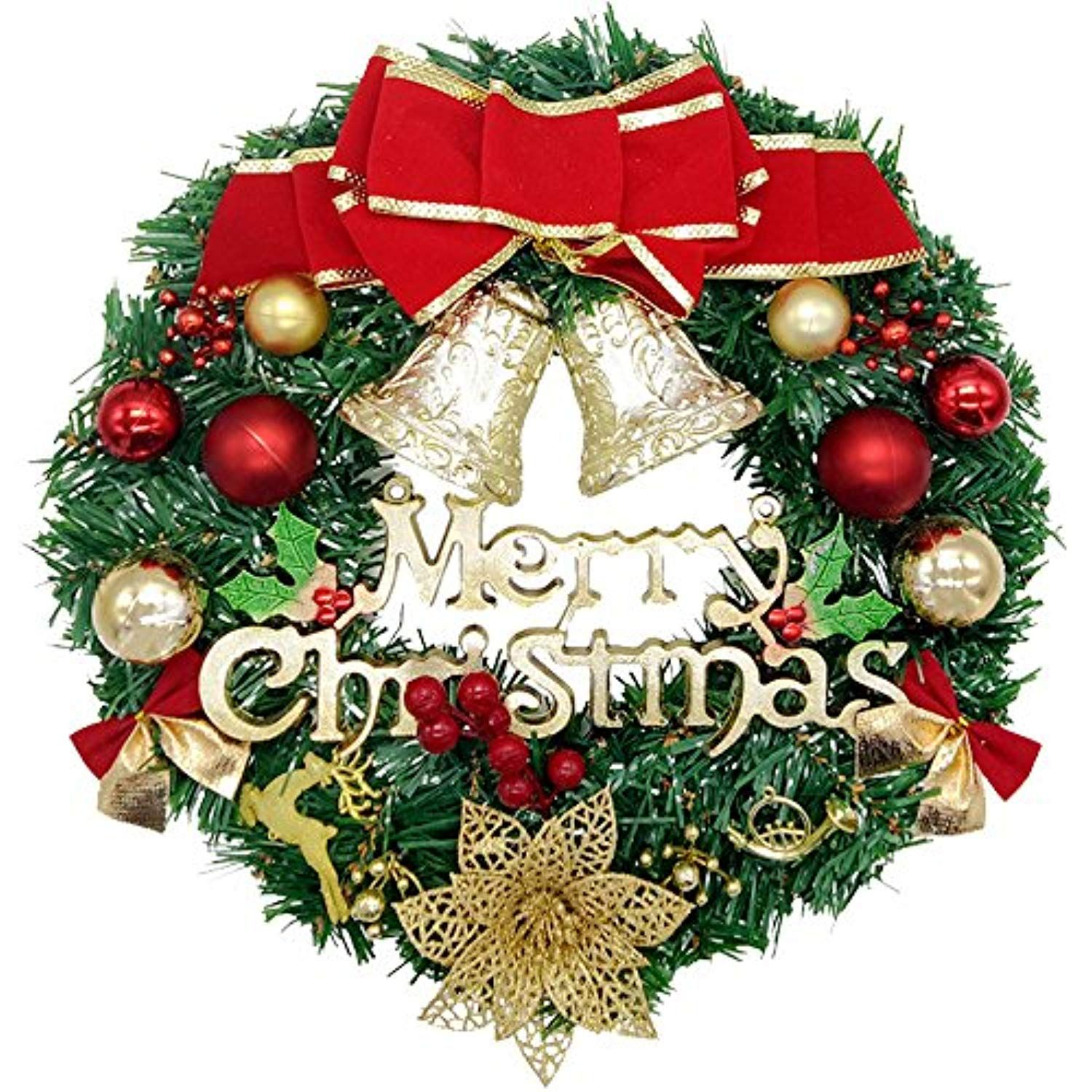 Christmas Wreath, Dadiii Merry Christmas Garland Ornament Decorations With Bowknot,