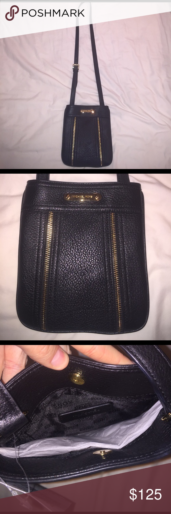 "NWT Michael Kors Crossbody bag Perfect condition nwt authentic Michael kors leather Crossbody bag. ""Moxley"" style. Black leather with gold zipper trim. Never used, tags and inside liner still attached. Beautiful bag! Smoke free home. Michael Kors Bags Crossbody Bags"