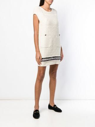 9d83de4f0d0 Chanel Vintage Cashmere Textured Dress - Farfetch