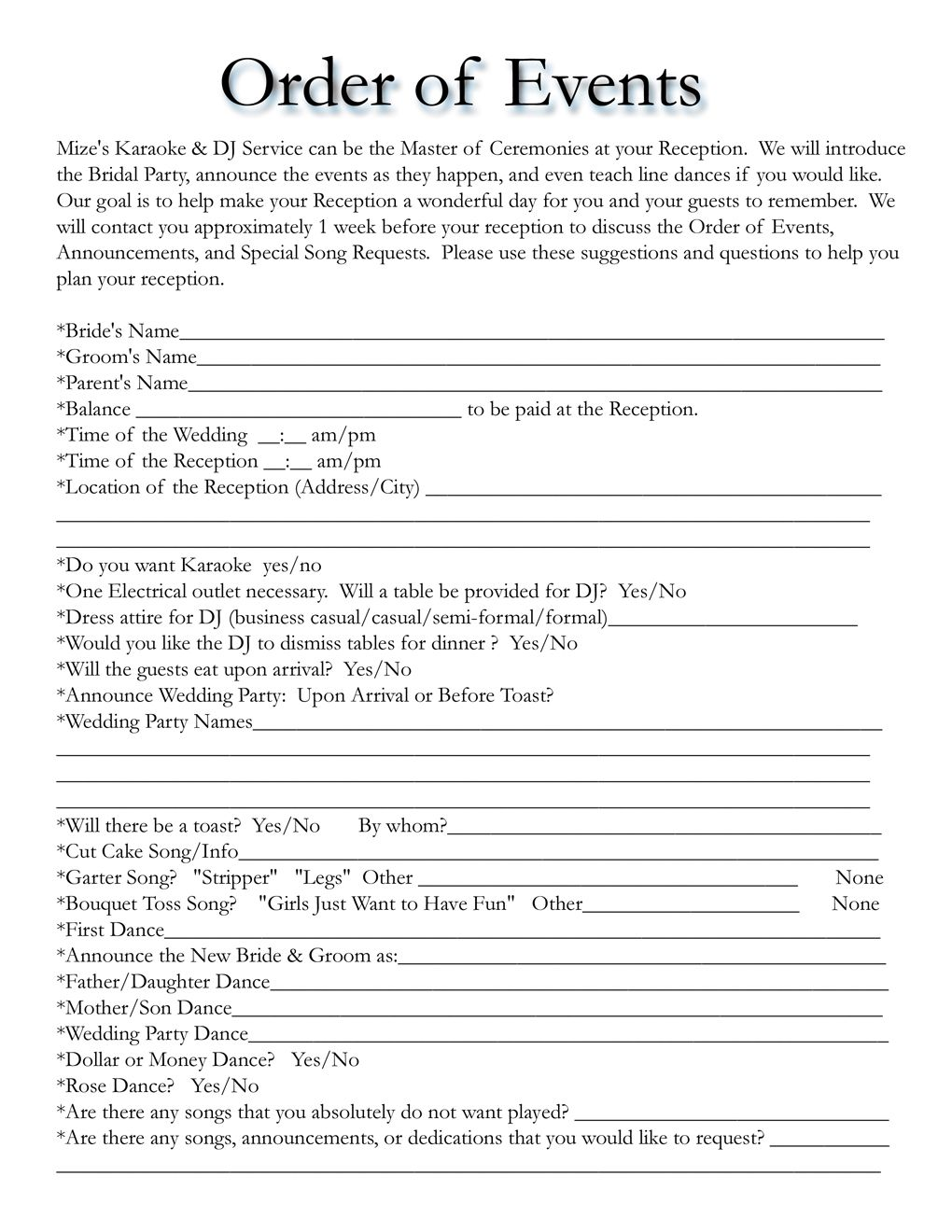 Wedding itinerary templates free wedding template for Mc template for wedding