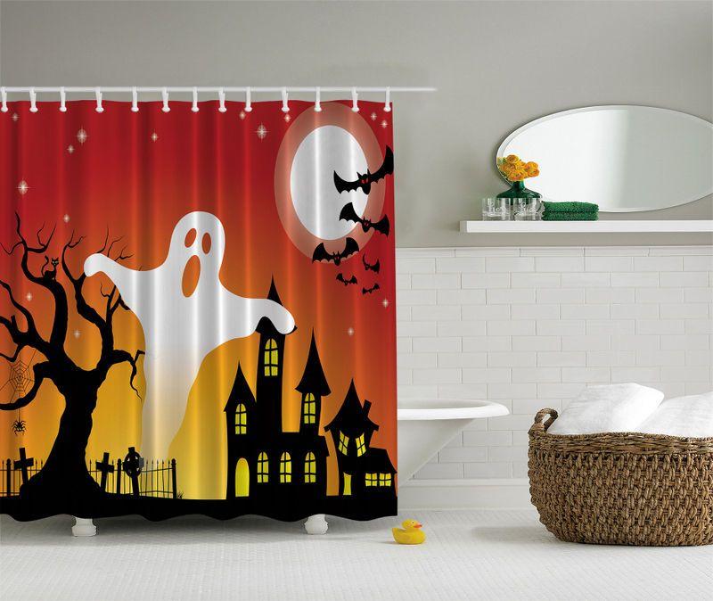 Halloween Haunted House Ghosts Bats 70 Fabric Bathroom Shower