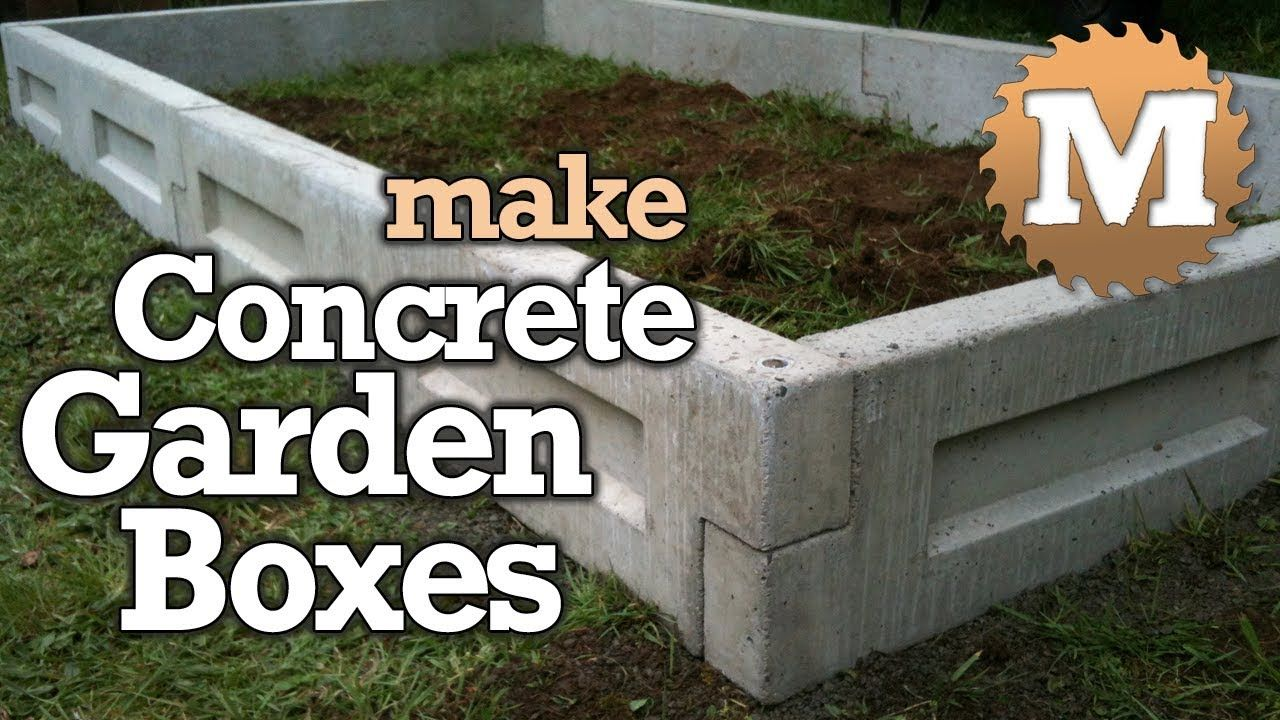 Amazing Concrete Garden Boxes Diy Forms To Pour And Cast Cement Planter Link Together Beds Youtube Concrete Garden Garden Boxes Garden Boxes Diy