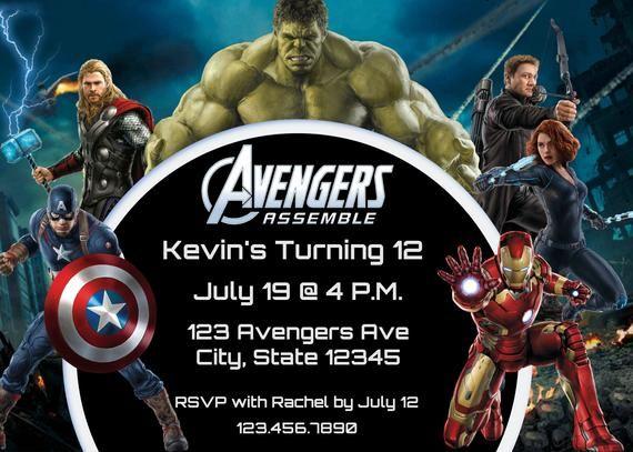 Avengers Assemble 12th Birthday Invitation