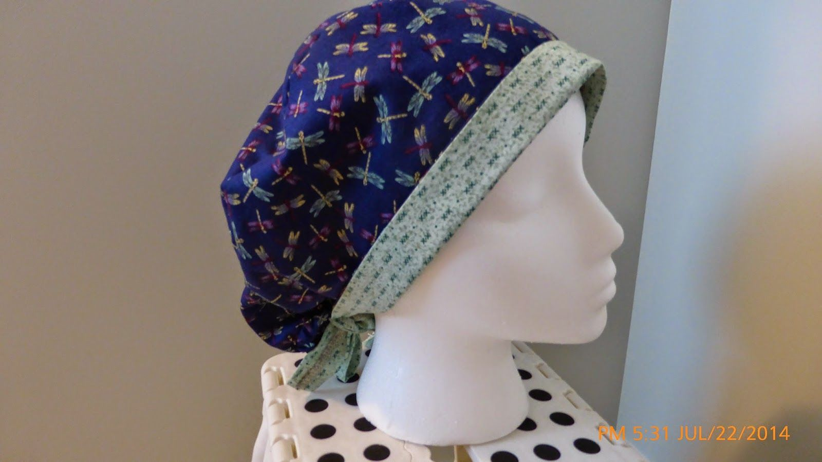 The Dragonfly Scrub Hat With Fold Up Brim Tie And Elastic At