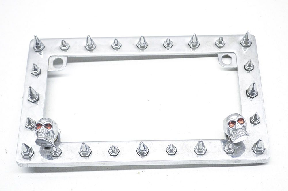 Spiked Skull Motorcycle License Plate Frame | License plate frames ...