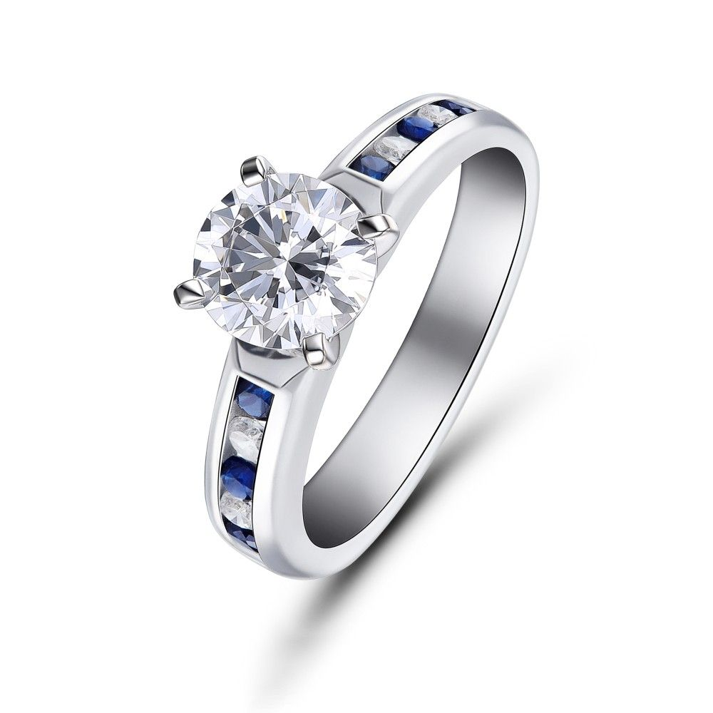 Round cut white sapphire sterling silver womenus engagement ring in