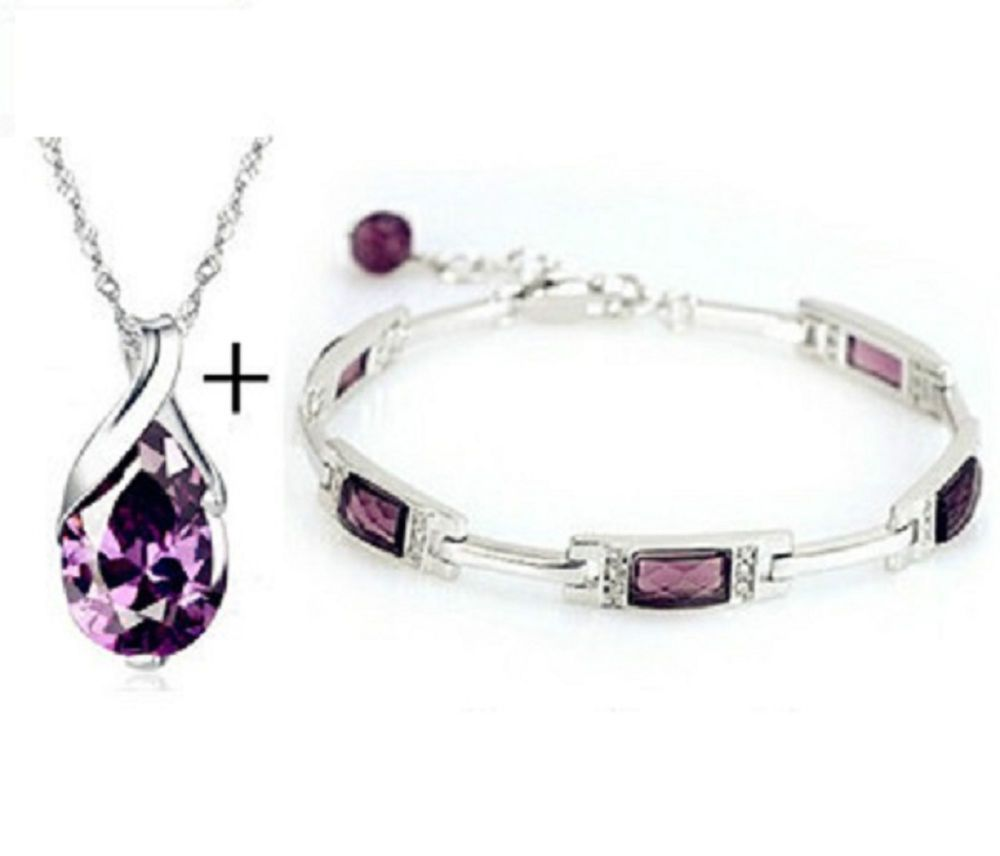 Real white gp necklace with purple crystal pendant and bracelet set