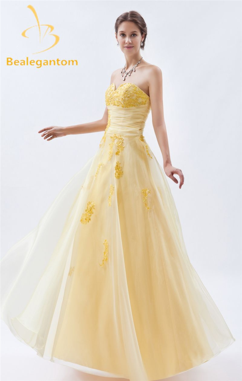 Click to buy ucuc bealegantom fashion yellow appliques aline prom
