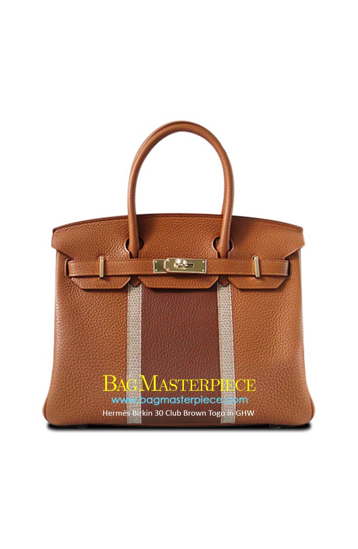 738b0589e45d Hermes Birkin Size 30 in Brown and lizard featuring GHW in Togo Leather