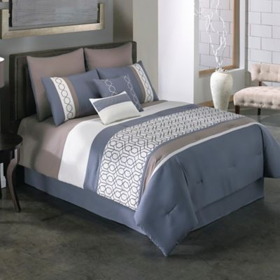 buy covington 8piece king comforter set in blue from bed bath u0026 beyond