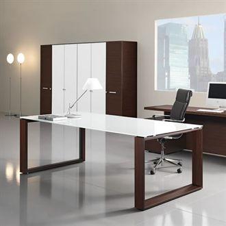 Computer Desk Wood Legs Glass Top Timeless Sleek Modern And