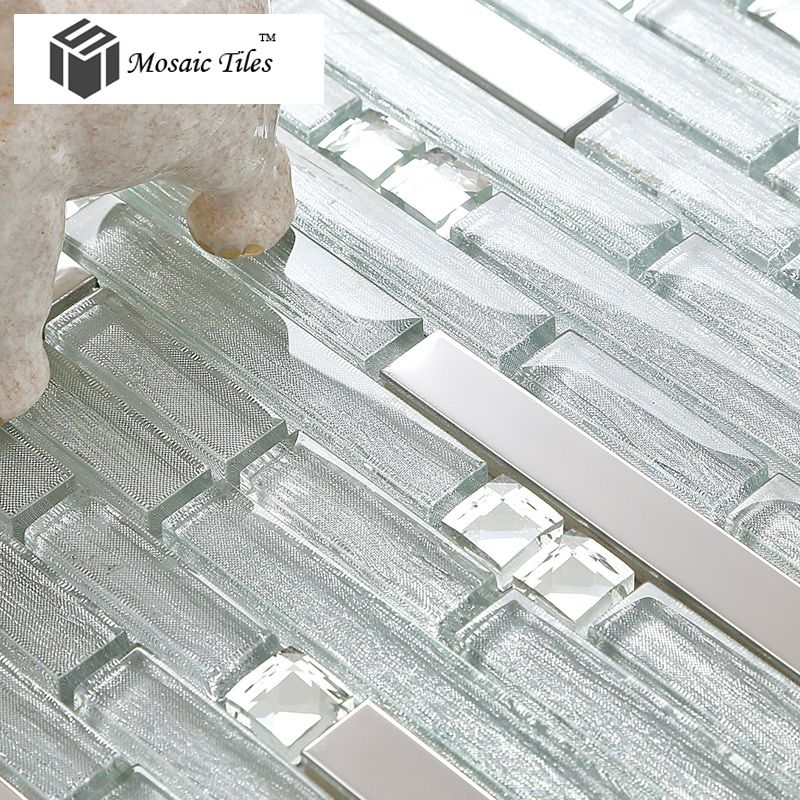 Tst Glass Metal Tiles Silver Strip Stainless Steel Kitchen
