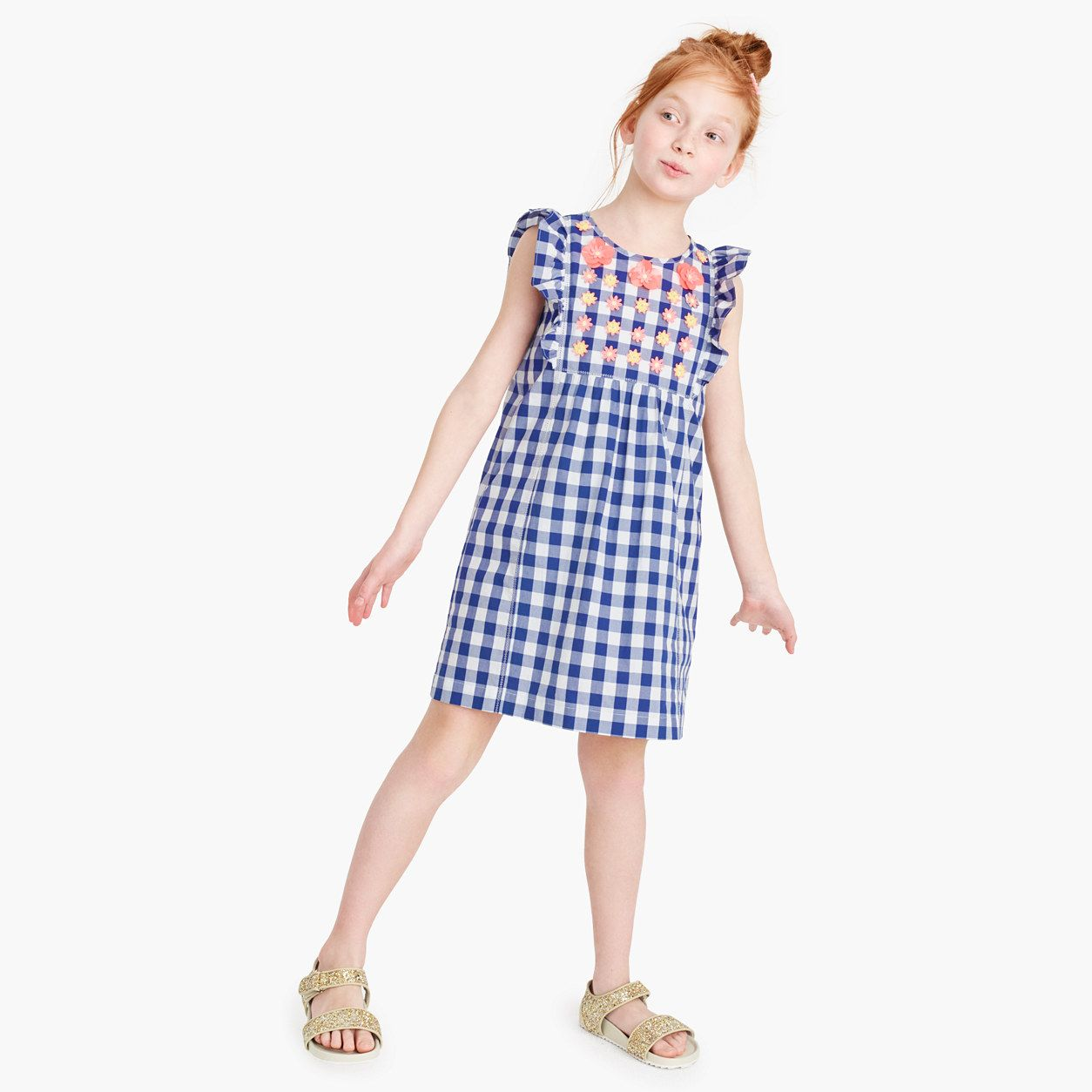 Crewcuts girls ruffly dress in embroidered floral gingham size
