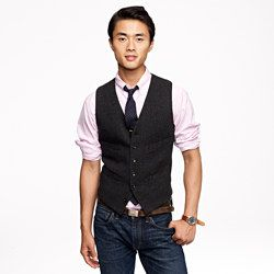 Charcoal herringbone vest - jcrew