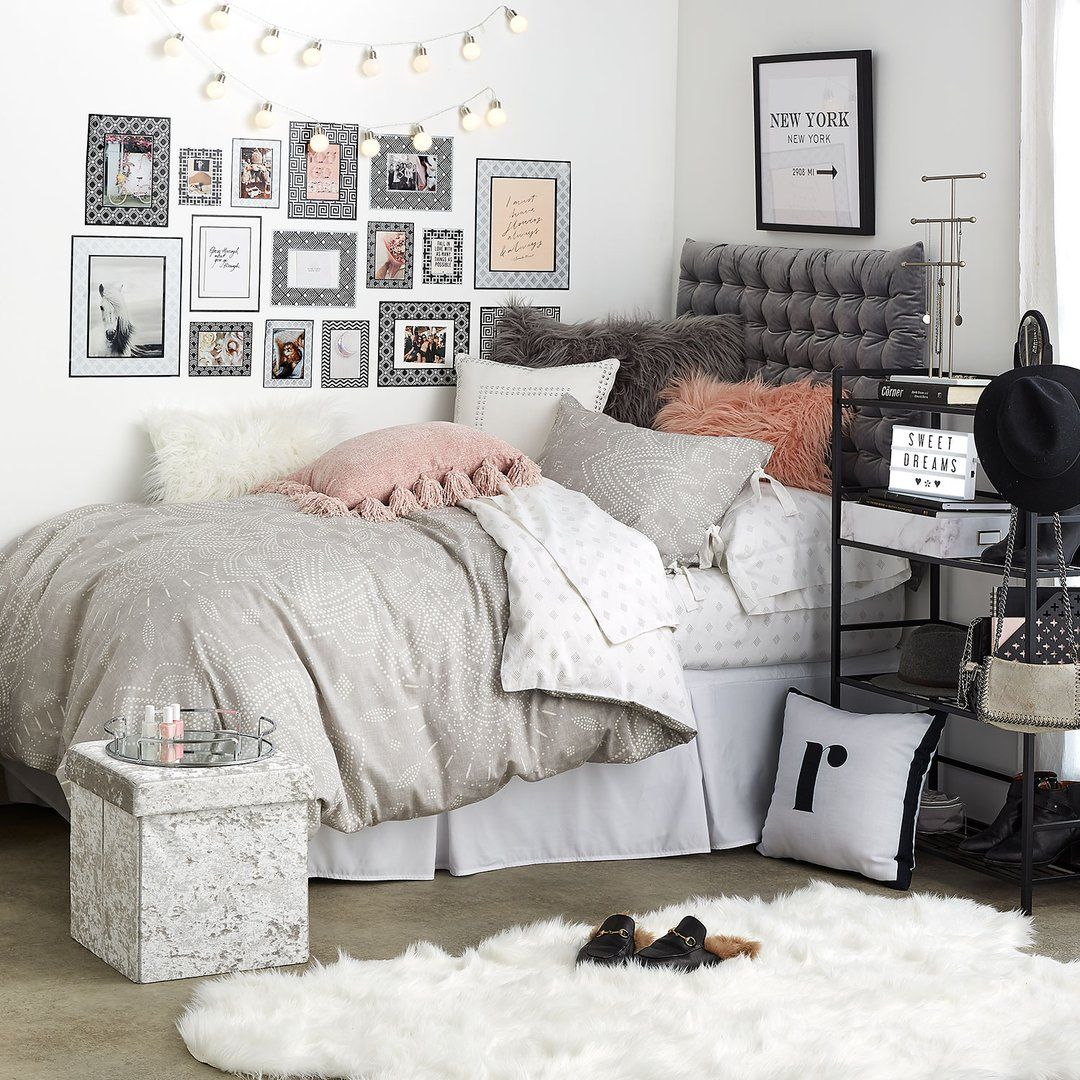 Grey Chloe Medallion Duvet Cover And Sham Set Girls Dorm Room Dorm Inspiration Dorm Room Inspiration