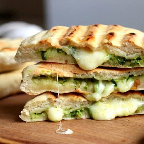 Easy, no-yeast naan bread filled with cheese and grilled ...