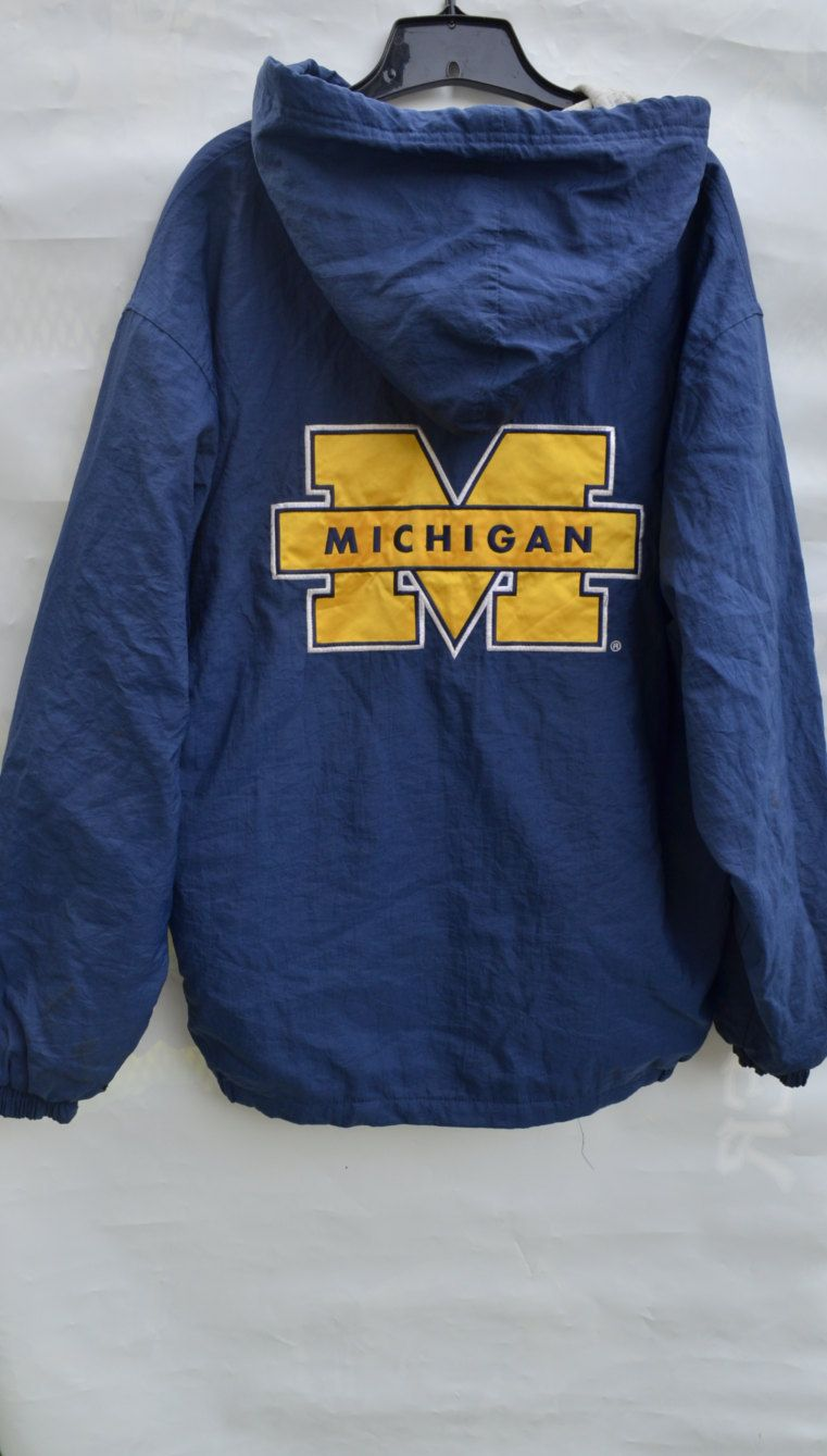 7ea075ee8ff12 Starter Jacket Michigan Wolverines 90s starter parka vintage sports  michigan starter hooded zip up jacket college sports fans size medium by  SerialMateriaL ...