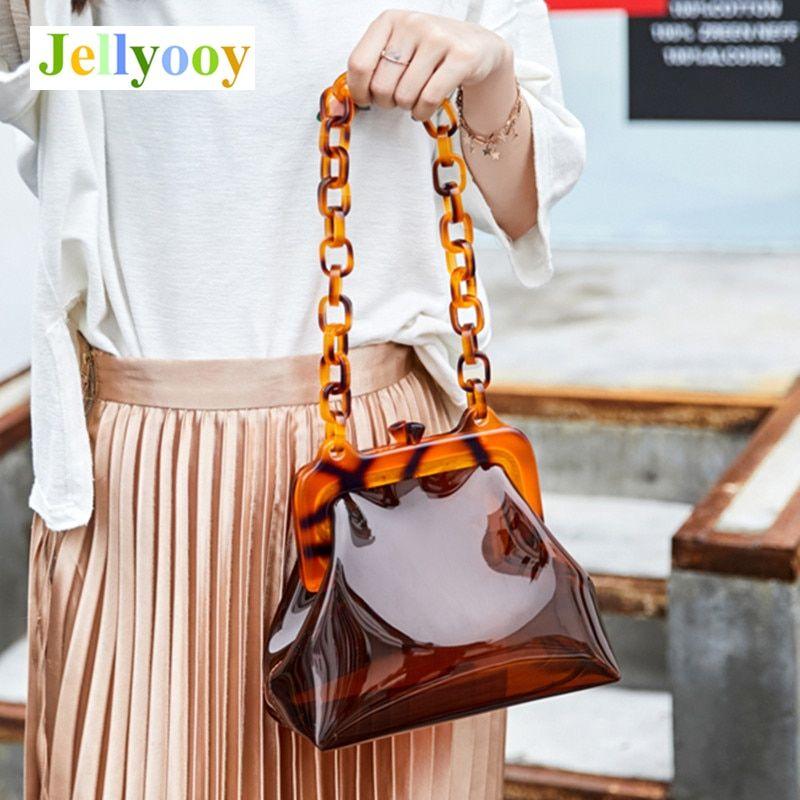 Pearl Beading Pvc Transparent Women Handbags Chains Small Flap Shoulder Bags Clear Crossbody Bag Fashion Lady Summer Purse 2019 Shoulder Bags